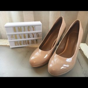 Glossy Nude Heels with soft cushion sole